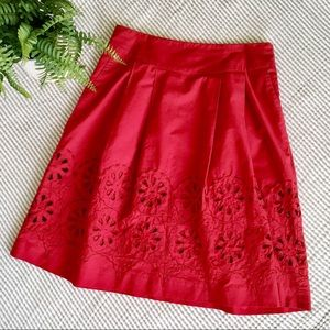 LOFT Petites Eyelet Embroidered Red Party Skirt